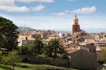 tropez: Clock Tower in St Tropez and ancient buildings in the resort.