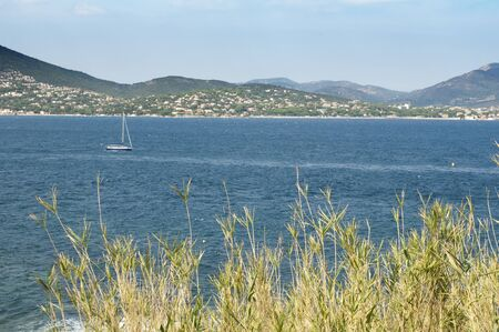 cote d'azur: French Riviera views from St. Tropez. Yachts and sailboats