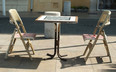 Table and chairs for chess on the steet Stock Photo - 16066932