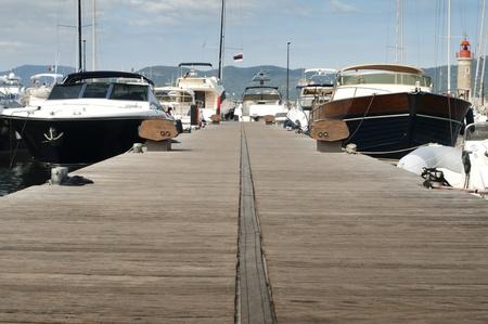 Anchored yachts in St. Tropez marina . photo