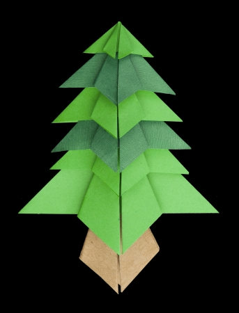 christmastree: Christmas tree made of paper. Origami evergreen tree