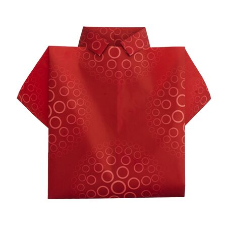 origimi: Isolated paper made red shirt.Folded origami style