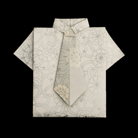 origimi: Isolated paper made shirt.Folded origami style