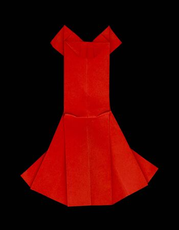 Red dress made  of paper. Isolataed origami photo
