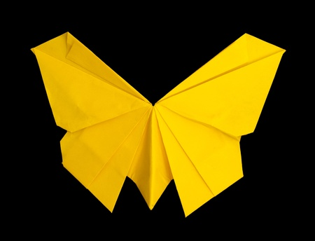 Yellow butterfly. Folded origami style