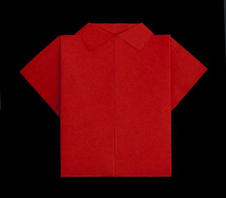 Isolated paper made red shirt.Folded origami style Stock Photo - 16317655