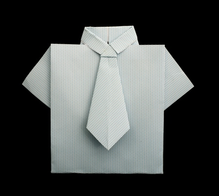 origimi: Isolated paper made white plaid shirt. Folded origami style Stock Photo