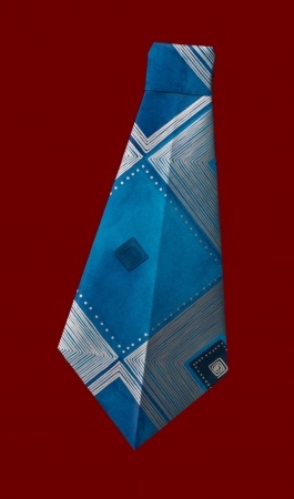 origimi: Isolated blue tie folded origami style Stock Photo