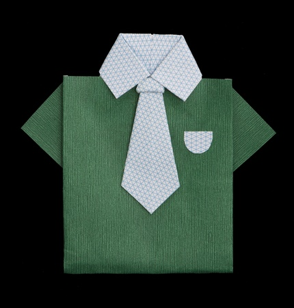 Isolated paper made green shirt with white tie.Folded origami style Stock Photo - 16317783