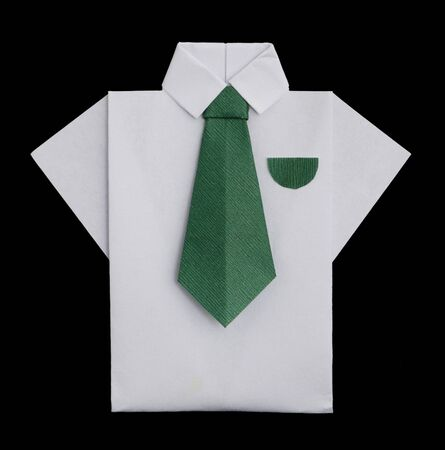 origimi: Isolated paper made white shirt with green tie.Folded origami style