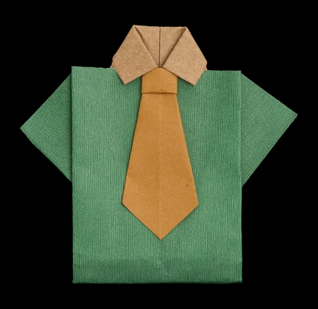 origimi: Isolated paper made green shirt with brown tie.Folded origami style