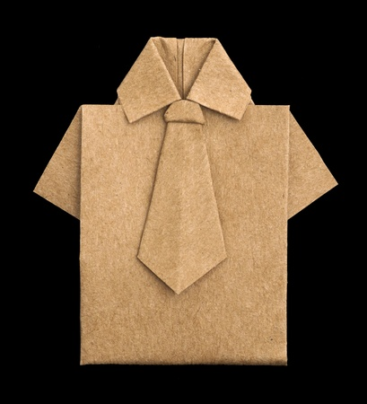 Isolated paper made brown shirt.Folded origami style Stock Photo - 16317753