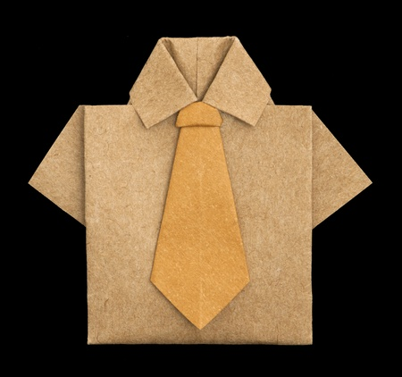 origimi: Isolated paper made brown shirt.Folded origami style