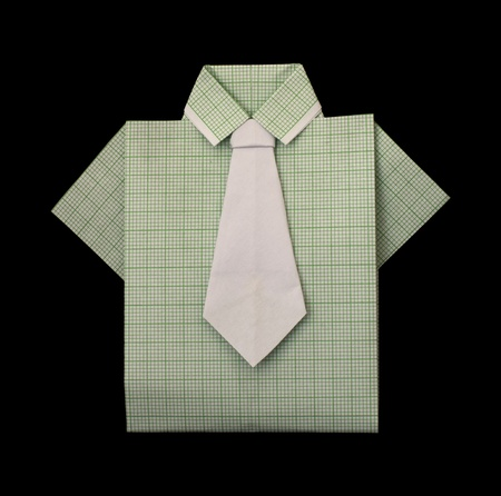 Isolated paper made green plaid shirt.Folded origami style Stock Photo - 16317784