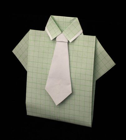 Isolated paper made green plaid shirt.Folded origami style Stock Photo - 16317780