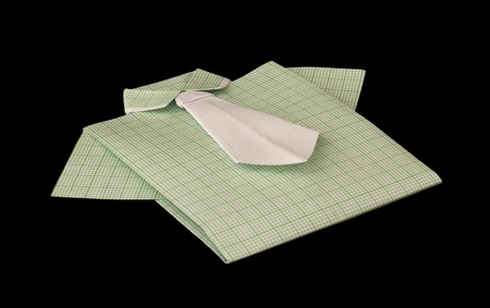 Isolated paper made green plaid shirt.Folded origami style Stock Photo - 16317723
