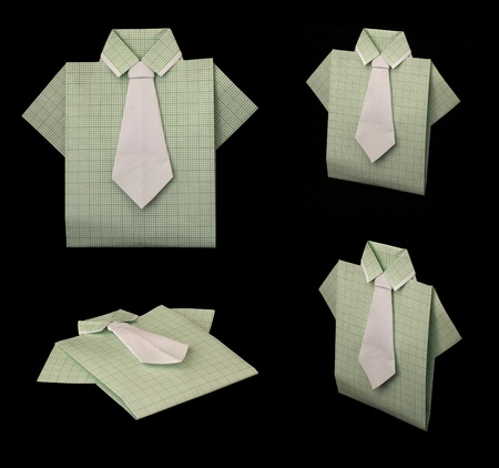 Isolated paper made green plaid shirt.Folded origami style Stock Photo - 16317782