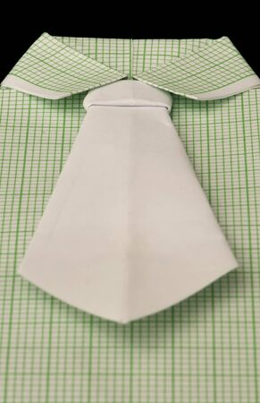 origimi: Isolated paper made green plaid shirt.Folded origami style Stock Photo