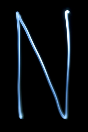 The letter N from natural neon light.  Stock Photo - 16513944