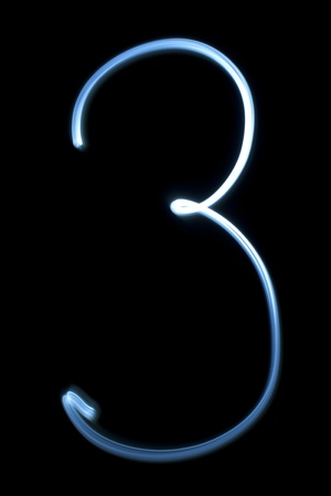 Number three digit from natural neon light photo