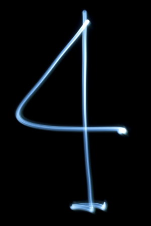 Number four digit from natural neon light photo