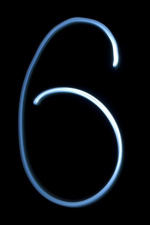 Number six digit from natural neon light photo