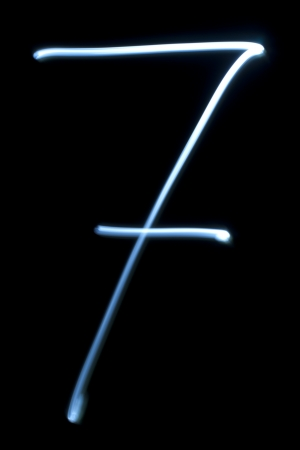 Number seven digit from natural neon light photo