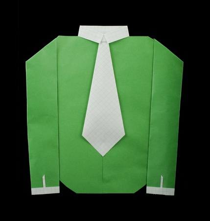 Isolated paper made green shirt with white tie.Folded origami style Stock Photo - 16513839