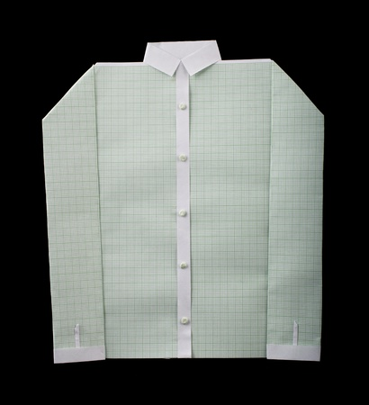 origimi: Isolated paper made white shirt.Folded origami style