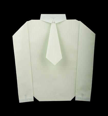 Isolated paper made white shirt with tie.Folded origami style Stock Photo - 16513828