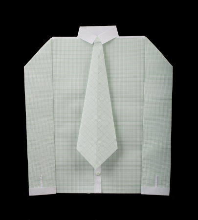 origimi: Isolated paper made white shirt with tie.Folded origami style