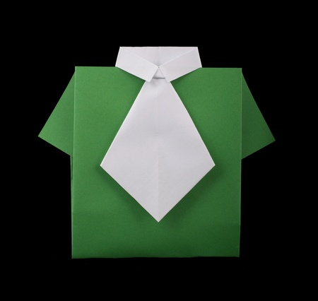 Isolated paper made green shirt with white tie.Folded origami style Stock Photo - 16513882