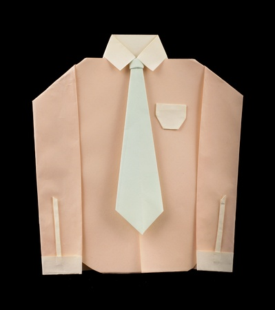 origimi: Isolated paper made pink shirt with white tie.Folded origami style