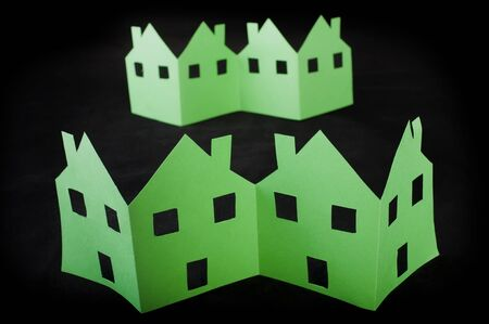 Ecology green houses. Paper made folded origami style photo
