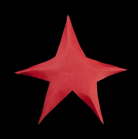 atop: Red star atop the Christmas tree. Origami made
