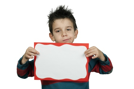 Unhappy Boy who holds white board.  White copy spice Stock Photo - 16513770
