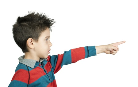 Little boy who points a finger  White isolated Stock Photo - 16513730