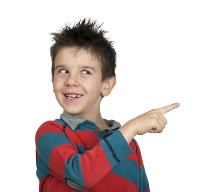 Little boy who points a finger  White isolated Stock Photo - 16513740