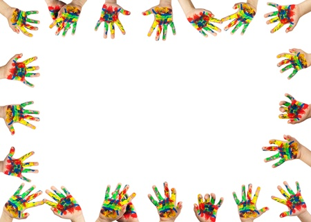 child drawing: Childrens hands painted with colorful paint. Infant border frame