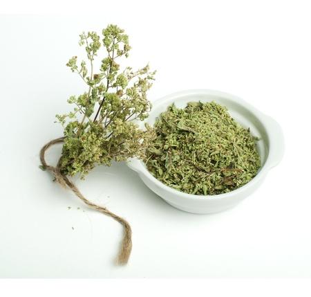 Getrockneter Oregano in eine Schüssel geben und oragano Zweigen auf weißem Hintergrund Standard-Bild