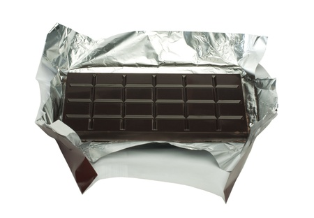 Chocolate bar in packaging of aluminum foil