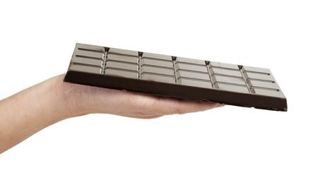 cikolata: Hand holding chocolate bar. White isolated