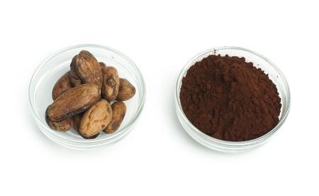 cikolata: Cocoa beans and cocoa powder in bowls white isolated Stock Photo
