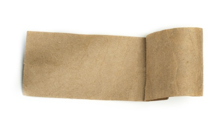 Brown paper label white isolated. photo