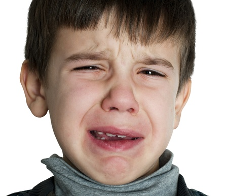 Face of crying little boy photo