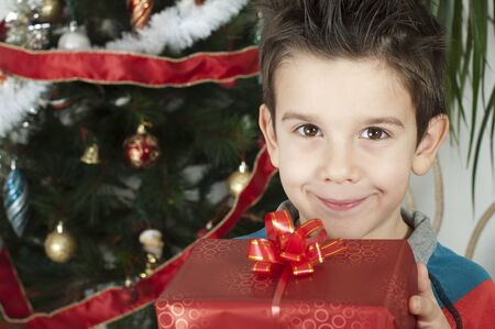 Happy child receive the gift of Christmas in front of the Christmas tree. Stock Photo - 16791654