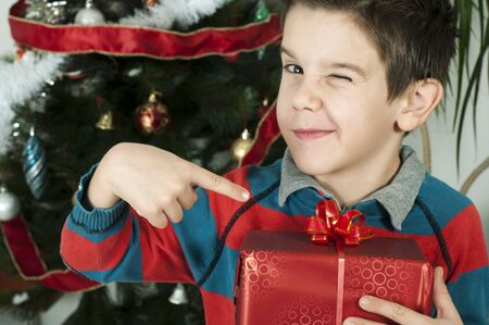Boy points out his gift on Christmas in fron of the Cristmass tree Stock Photo - 16792355