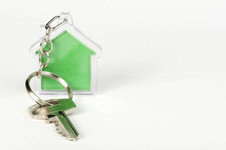 keyholder: Keychain with figure of green house