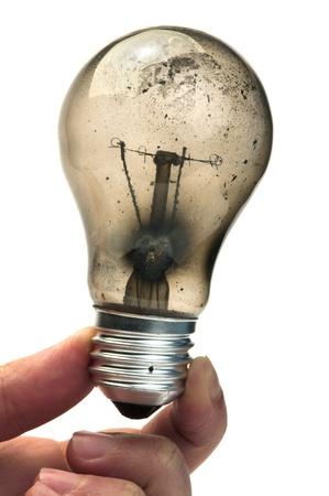 inefficient: Old light bulb burned inside