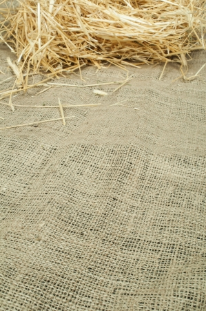 Straw on burlap and copy space. Studio shot. photo